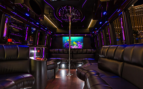 Inside a Bachelor Party Bus