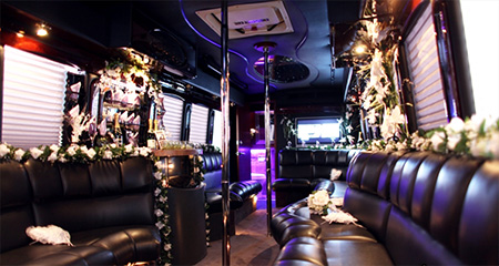 Party Bus Decorated For Wedding Guests